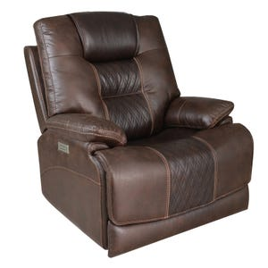Quilted Power Recliner with Power Lumbar and Headrest