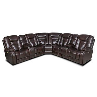 Madison Brown Leather Triple Power Sectional