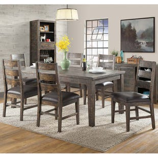 Glenwood 7 Piece Rustic Solid Wood Distressed Dining Set