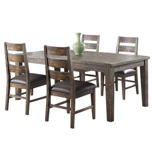 Glenwood 5 Piece Rustic Solid Wood Extendable Dining Set