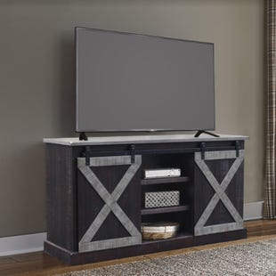 "Two Tone Barn Door Brown and Gray 65"" TV Stand"