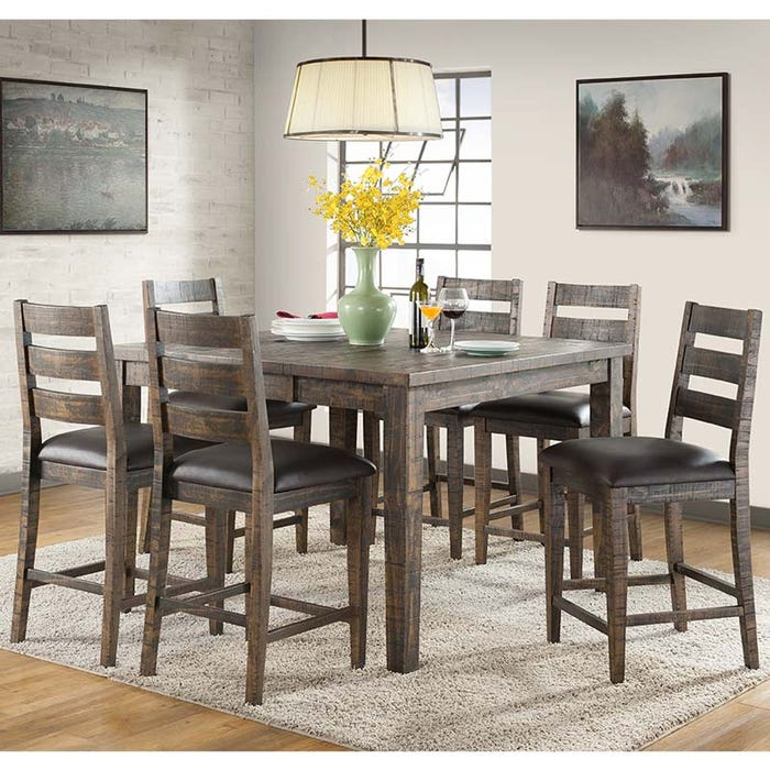 Glenwood 7 Piece Rustic Solid Wood Counter Height Dining Set