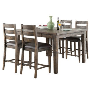 Glenwood 5 Piece Wood Extendable Counter Height Dining Set