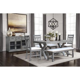 Shelter Cove Gray Rectangular Extendable 6 Piece Dining Set