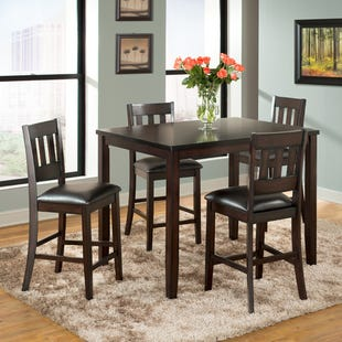 Americano Espresso Brown 5 Piece Counter Height Table Set