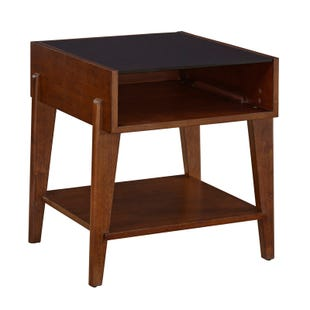 Henderson Wood and Glass Contemporary Square End Table