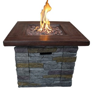 Bridgemont Brown Brick Outdoor Square Gas Fire Pit