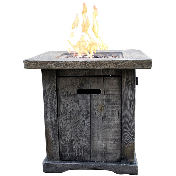 Lakeside Gray Neutral Wood-Look Outdoor Gas Fire Pit