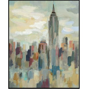 City Scape 24x36 Framed Canvas Art