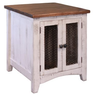 Pueblo White and Pine Storage End Table