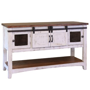 Pueblo White and Pine Barn Door Sofa Table
