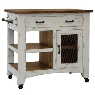 Pueblo White Kitchen Island