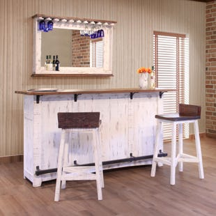 Pueblo Distressed White Bar and Two Stools