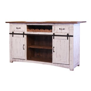Pueblo Distressed White Rustic Bar