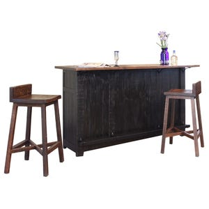 Pueblo Distressed Black Two Tone Rustic Bar with Two Stools