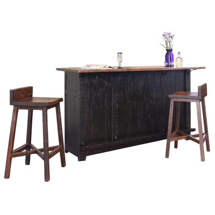 Pueblo Distressed Black Two Tone Rustic Bar With Stools Weekends Only Furniture