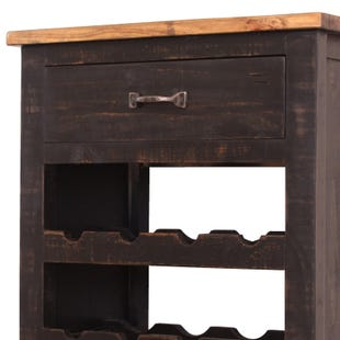Pueblo Distressed Black Two Tone Rustic Wine Bottle Cabinet