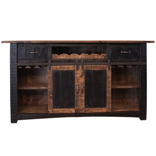 Pueblo Distressed Black Two Tone Rustic Bar