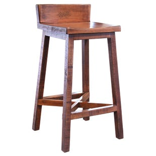 "Pueblo Distressed Brown 30"" Two Tone Bar Stool"