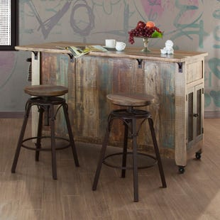 Antique Multicolor Island Bar with Stools