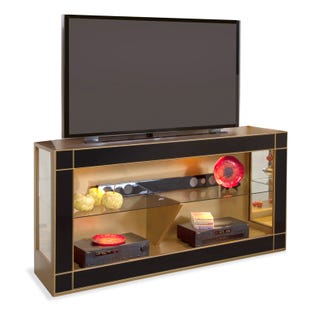 """Altair Antique Gold and Black 66"""" TV Stand"""