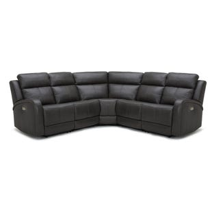 Power Headrest Ellis Leather Reclining Sectional Gray
