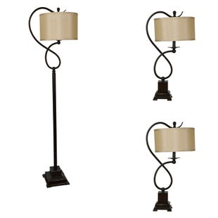 Chandler 3 Piece Bronze Twist Table and Floor Lamp Set