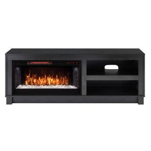 "Bushwick Black/Oak Melamine 56"" Fireplace Console"