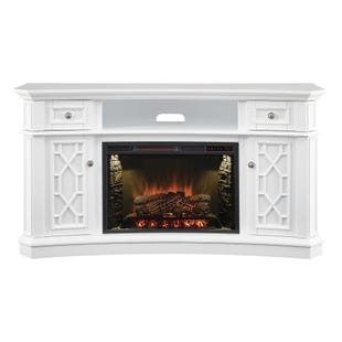 "Downey White  60"" Concave Fire Console"