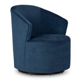 Ivy Swivel Chair in Blue Velvet