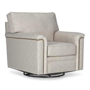 Warren Gray Swivel Chair with Nailhead