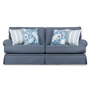 Emily Blue Skirted Sofa