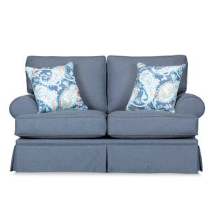 Emily Blue Skirted Loveseat