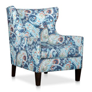 Emily Blue Paisley Accent Chair