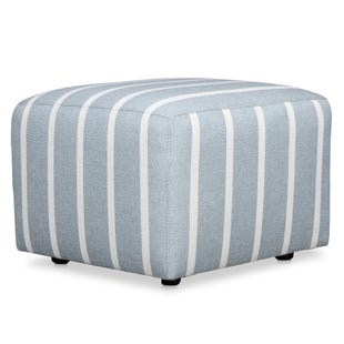 Emily Cube Ottoman Light Blue with White Stripes