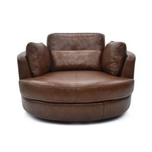 Extra Large Leather Swivel Chair Enzo Brown