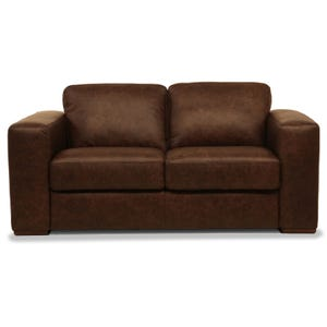 New York Chocolate All Leather Loveseat