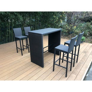 Olive Wicker 5 Piece Outdoor Dining Set