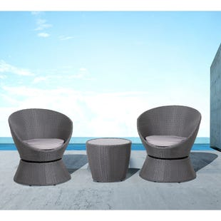 Bailey Wicker 3 Piece Patio Swivel Chairs and Side Table Set