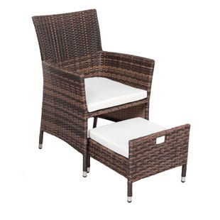 Clara Outdoor Wicker Chair with Storing Ottoman