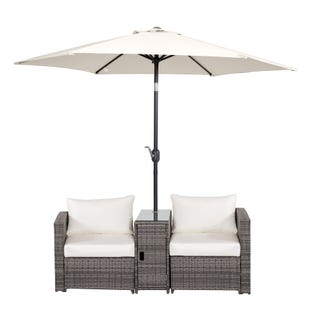 Naomi Outdoor Wicker Patio Set with Umbrella