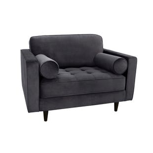 Valerie Gray Tufted Velvet Chair