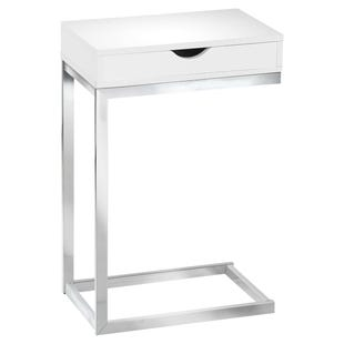 "Montreal White Chairside ""C"" Table with Drawer"