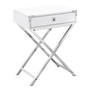 """Montreal White 24"""" End Table with Drawer"""