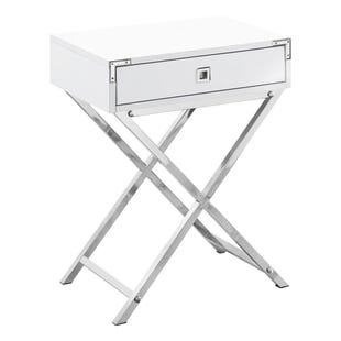 "Montreal White 24"" End Table with Drawer"