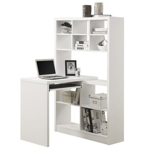 Montreal White Computer Desk with Bookshelf