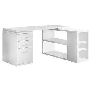 Montreal White L-Shaped Desk Right or Left