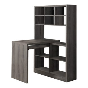 Montreal Taupe Computer Desk with Bookshelf