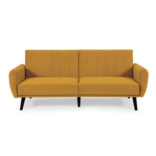 Vento Mustard Convertible Sofa with USB Port