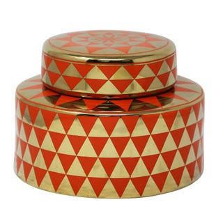 Orange and Gold Geo Jar